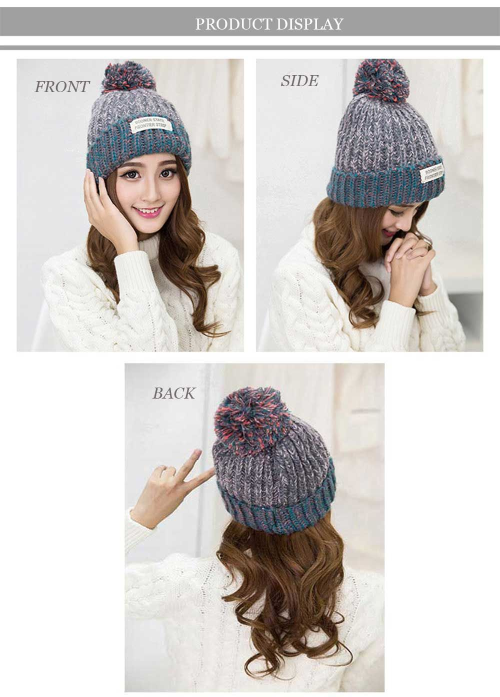Winter Color Block Venonat Decoration Warm Knitted Hat for Women