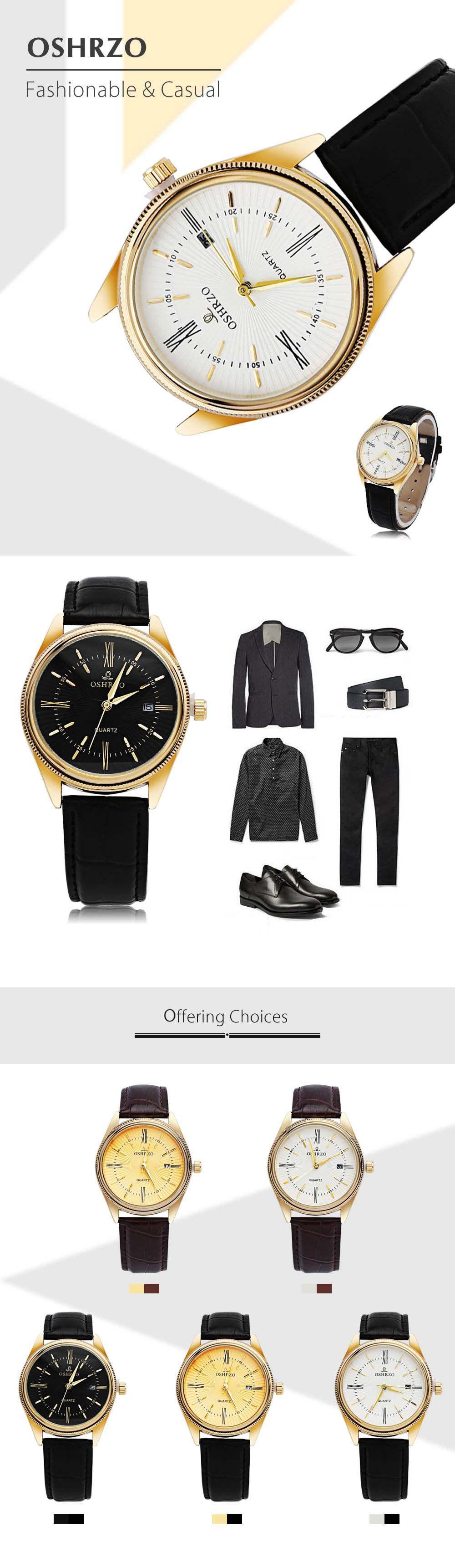 OSHRZO Men Quartz Watch Date Display Water Resistance Leather Band Wristwatch