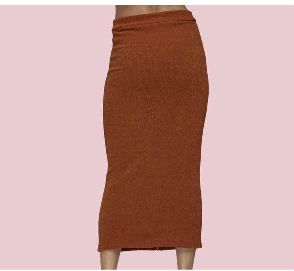 Chic Mid Waist Zippered Rib Knit Bodycon Women Skirt