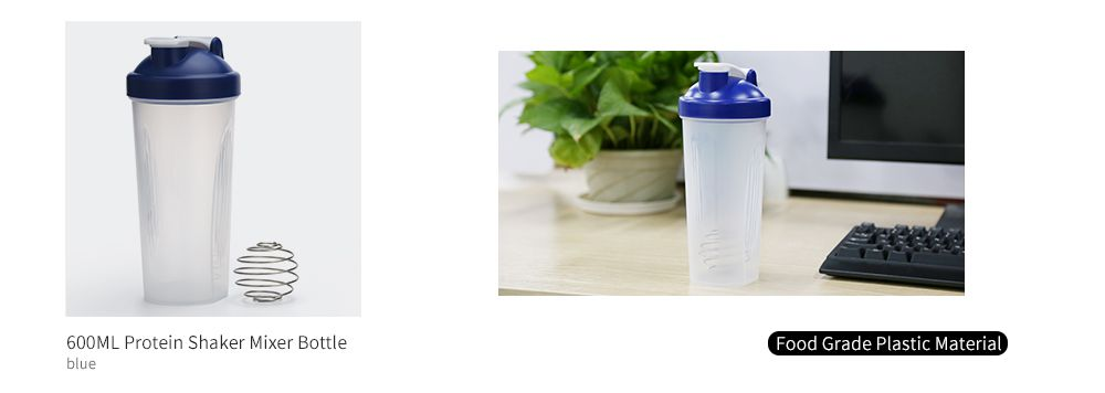 600ML Protein Blender Shaker Mixer Cup Drink Whisk Ball Bottle