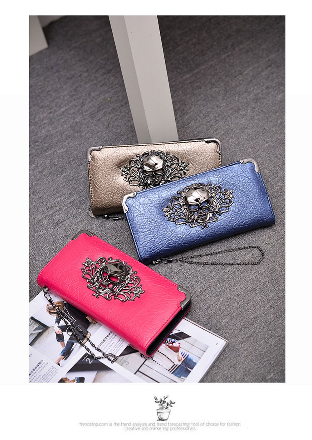 Retro Punk Handbag Zipper New Wallet Skull Woman Purse