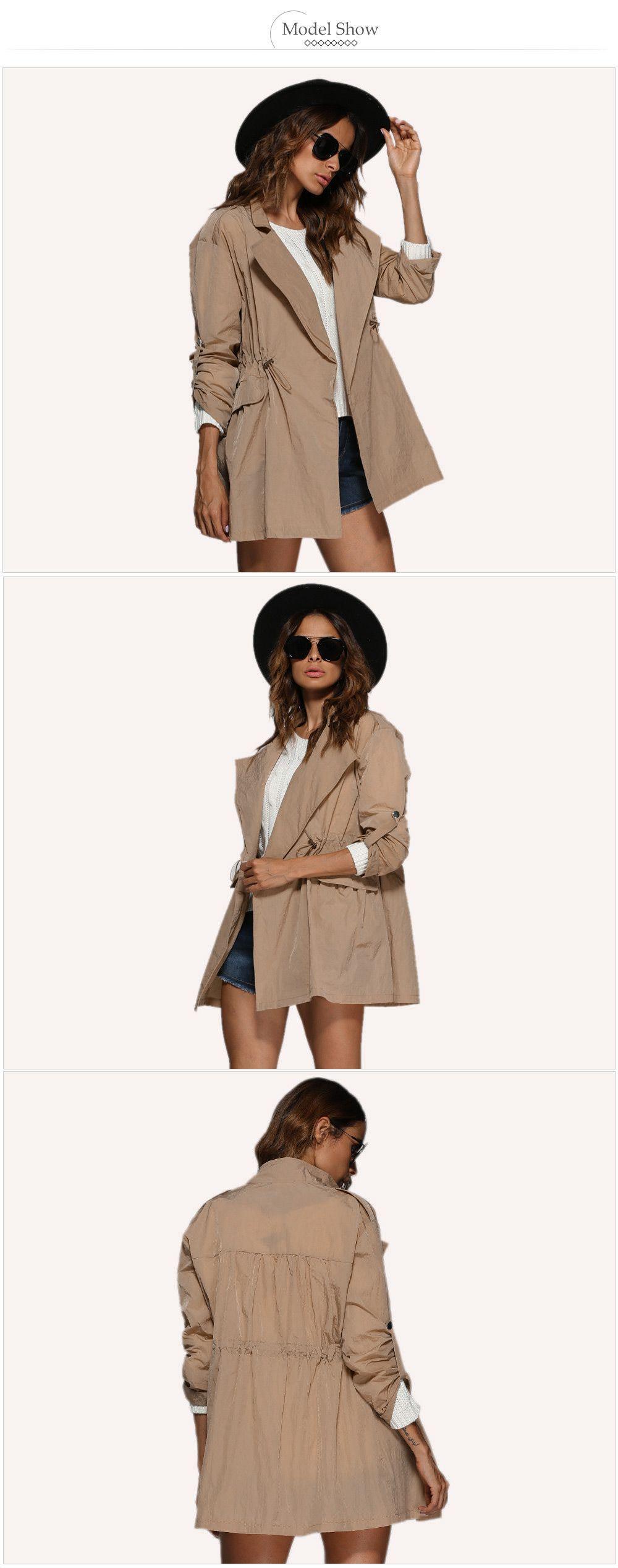 Chic Turn Down Collar Sash Waist Women Trench Coat