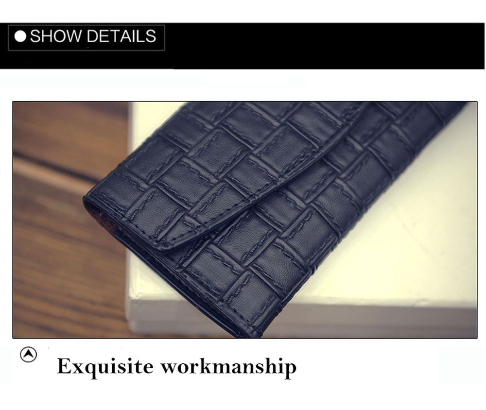 Fashion Retro Plaid Long Section Clutch Embossed Women Wallet Purse