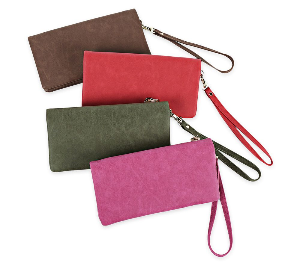 Fashion Long Paragraph Retro Zipper Matte Solid Color Handbags Women Purse