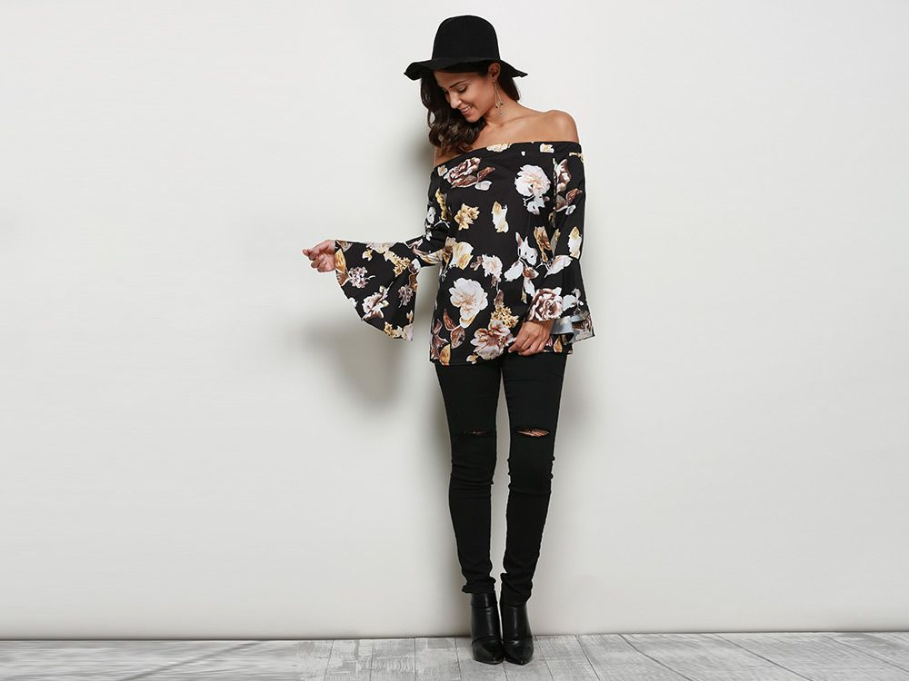 Allover Print Off The Shoulder Flare Sleeve Blouse