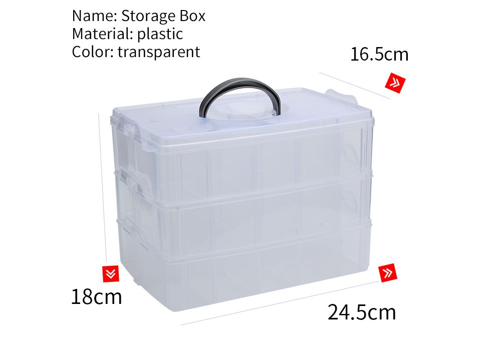 Big Sized Three Layers Removable Plastic Jewelry Bead Cosmetics Storage Box
