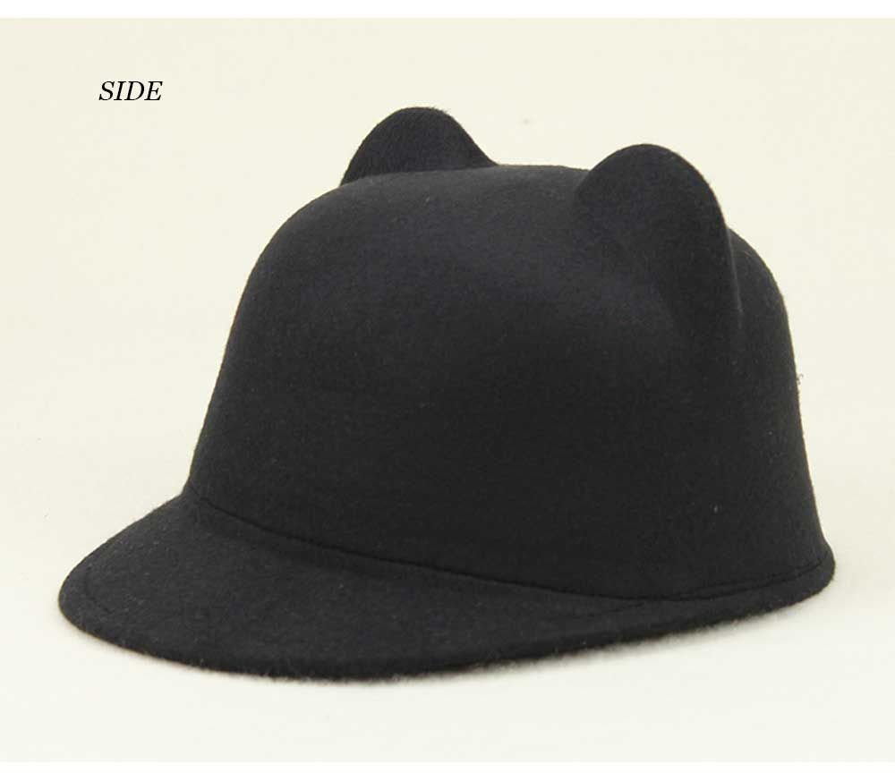 Fashionable Cat Ear Design Solid Color Top Hat for Unisex