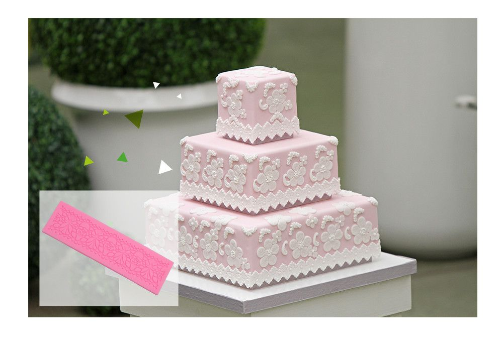 DIY Silicone Flower Cake Fondant Embossed Border Trim Decorating Mold Tool