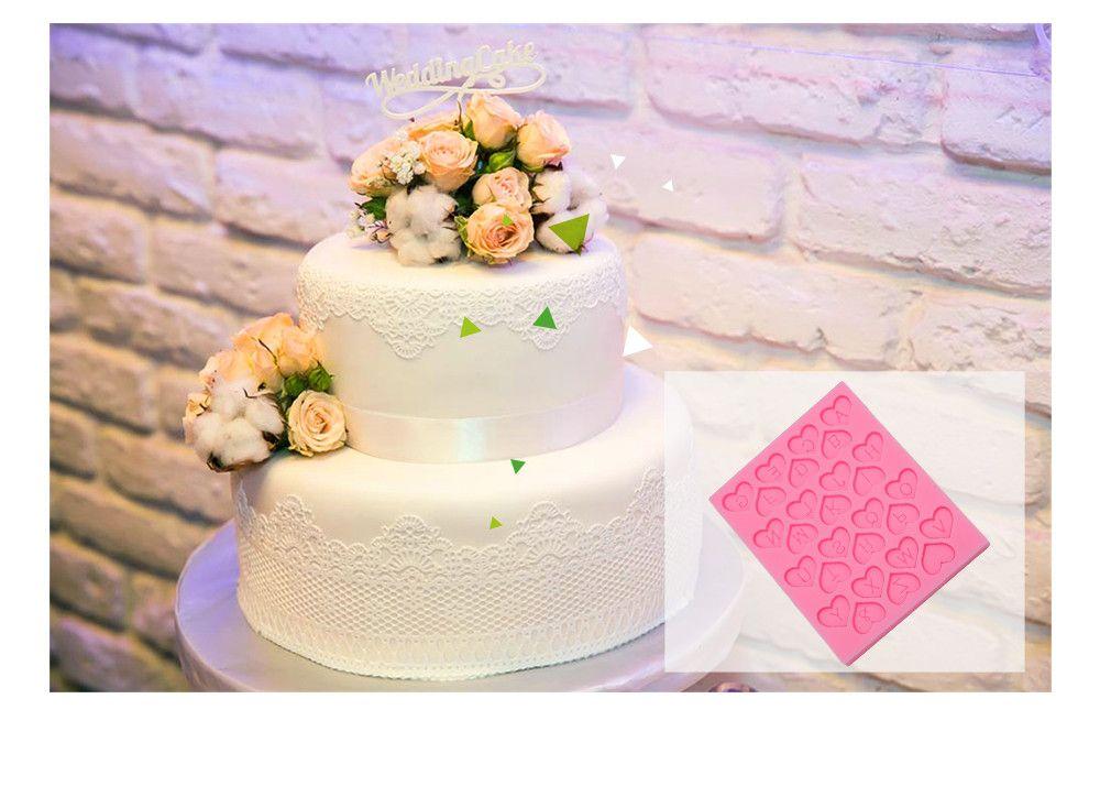 Love Heart Alphabet Letter Silicone Fondant Cake Decoration Mold