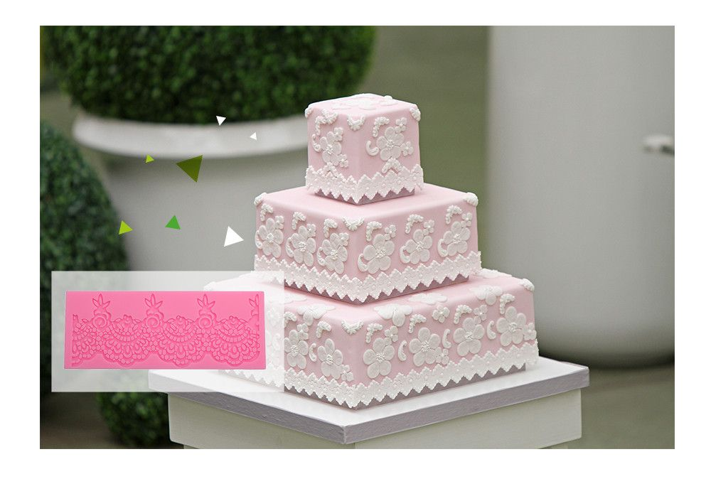 Lace Flower Silicone Fondant Cake Rim Decoration Mold