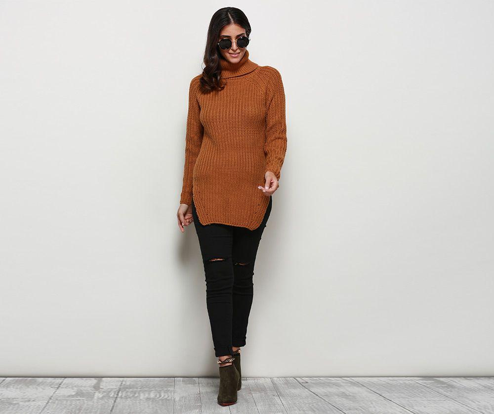 Stylish Turtleneck Long Sleeve Pure Color Button Decoration Slit Design Women Sweater