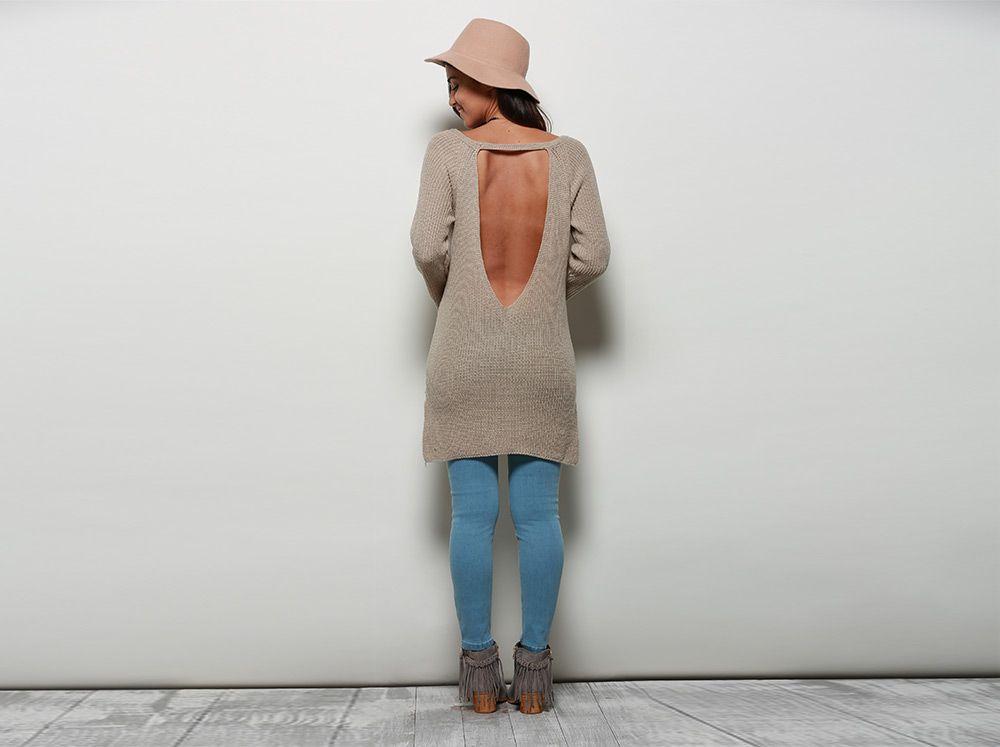 Stylish V-neck Long Sleeve Slit Design Pure Color Backless Women Sweater