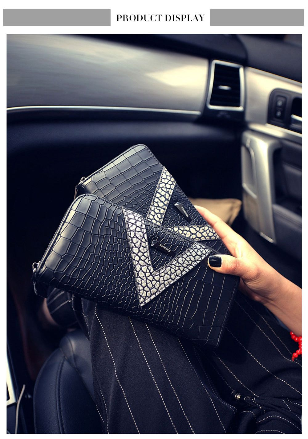 Long Large Capacity Zipper Crocodile Pattern Women Clutch Wallet