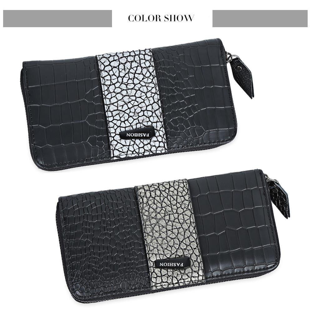 Large Capacity Zipper Crocodile Pattern Women Clutch Wallet