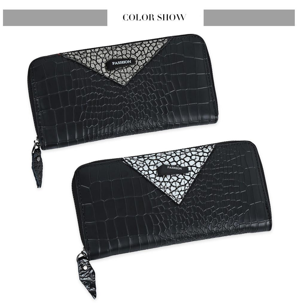 Long Section Zipper Large Capacity Crocodile Pattern Women Wallet