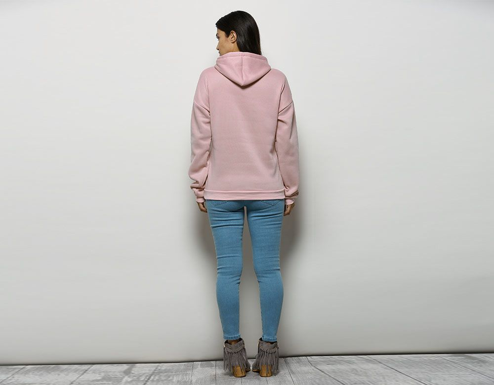 Fashionable Hooded Long Sleeve Drawstring Letter Print Women Hoodie