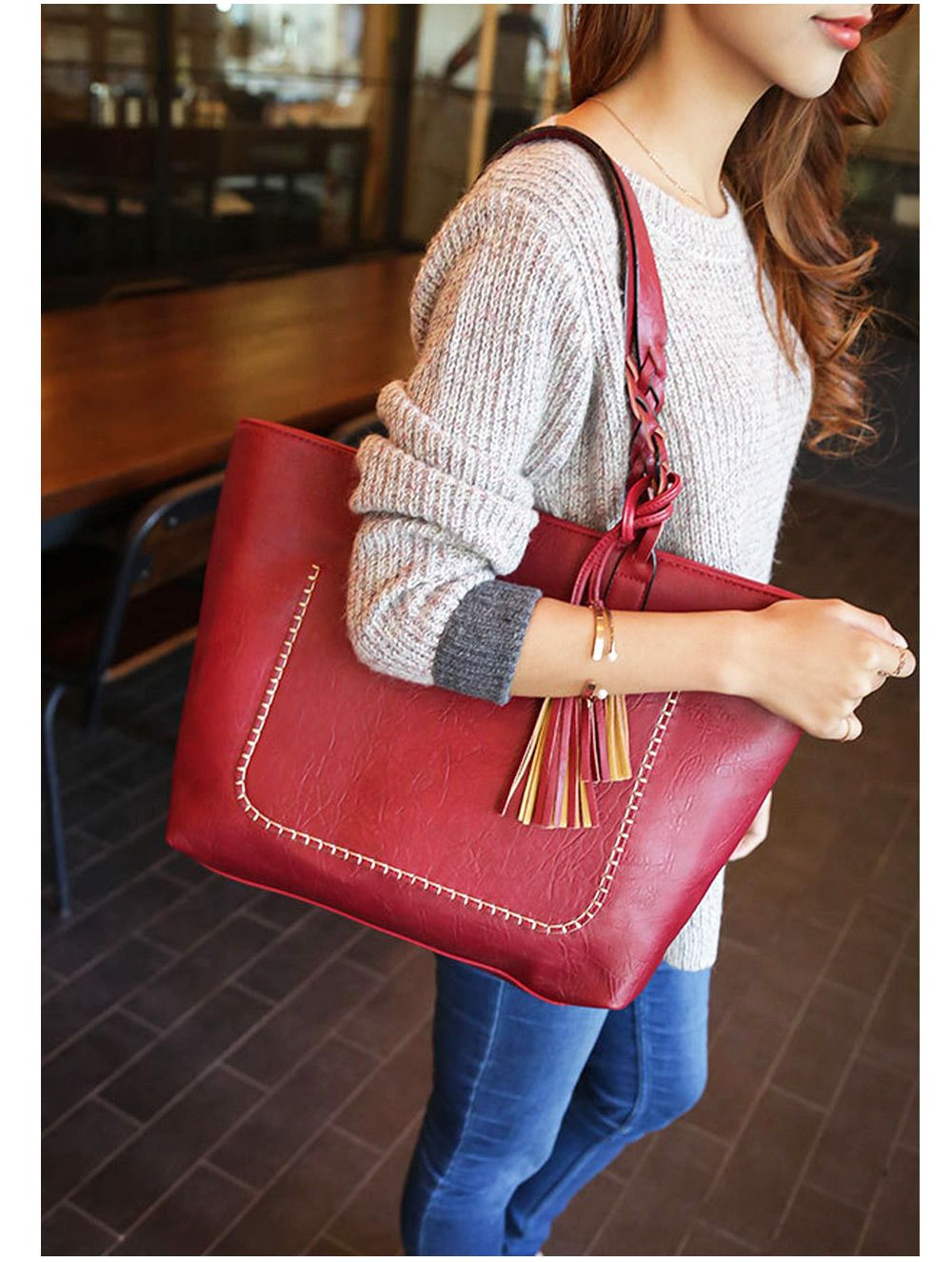 Fashion Retro Fringed Solid Color Handbag Tote Shoulder Messenger Crossbody Bag for Women