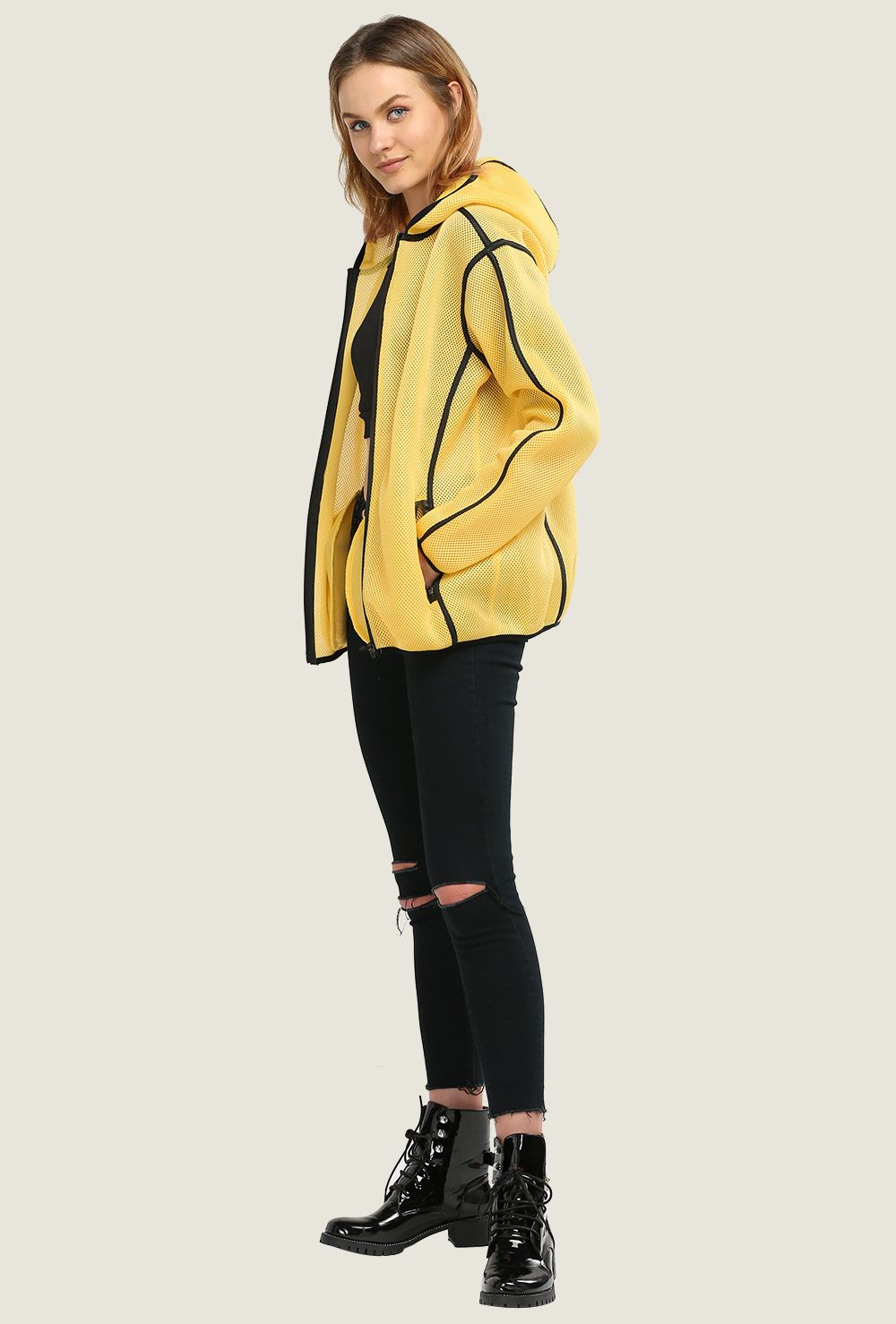 Chic Hooded Double Pocket Spliced Women Coat