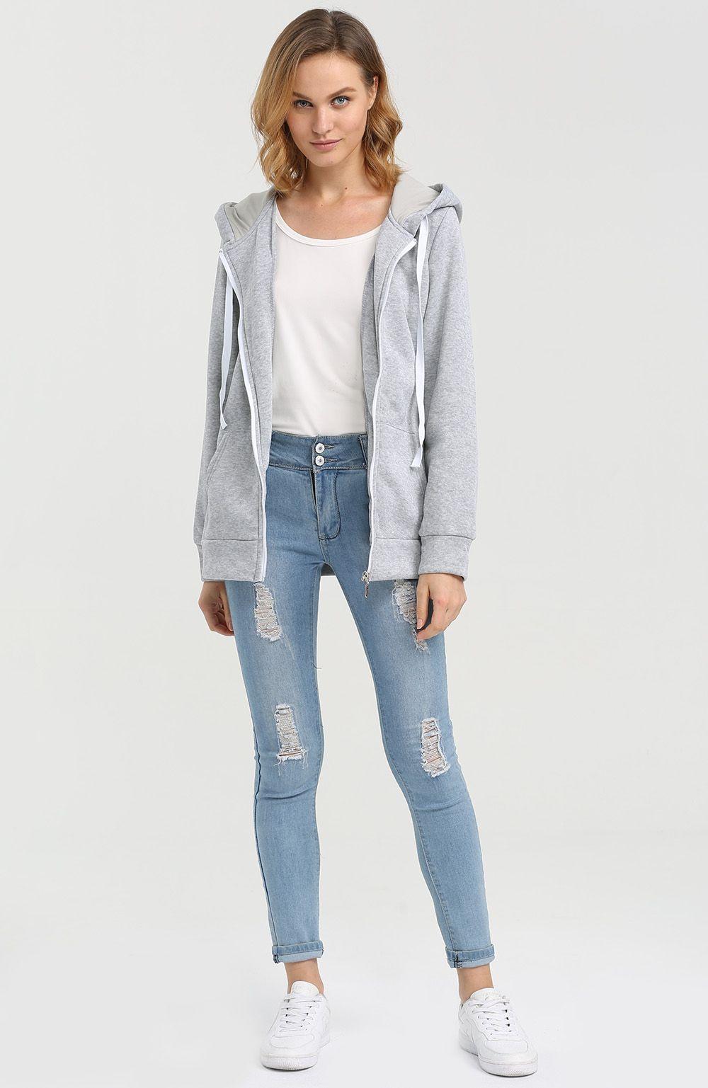 Casual Hooded Zipper Type Women Hoodie