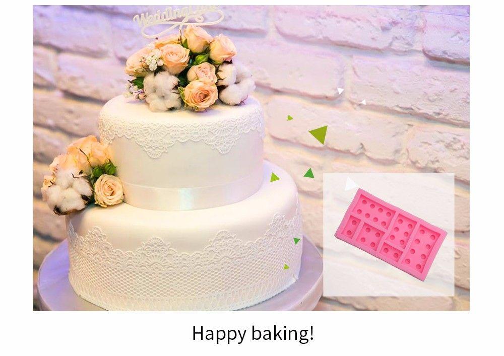 DIY Building Block Plate Pattern Cake Fondant Baking Mould