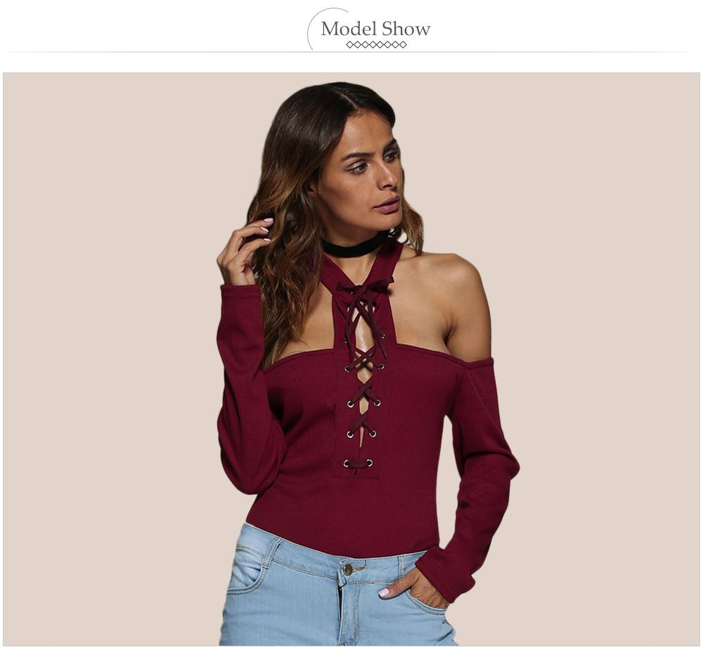 Sexy Halter Cold Shoulder Front Cross Rib Knitted Women T-shirt