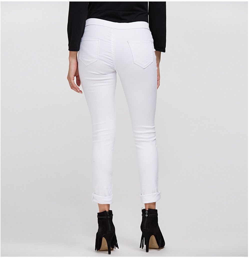 Chic Mid Waist Pure Color Skinny Women Jeans