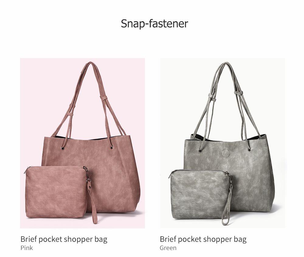 Simple Solid Color PU Women Pocket Shopper Bag Set