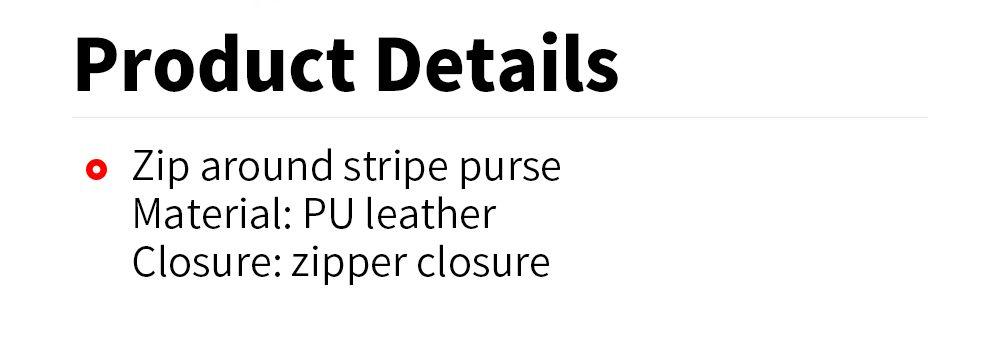 Zip Around Stripe Color Block Women Purse