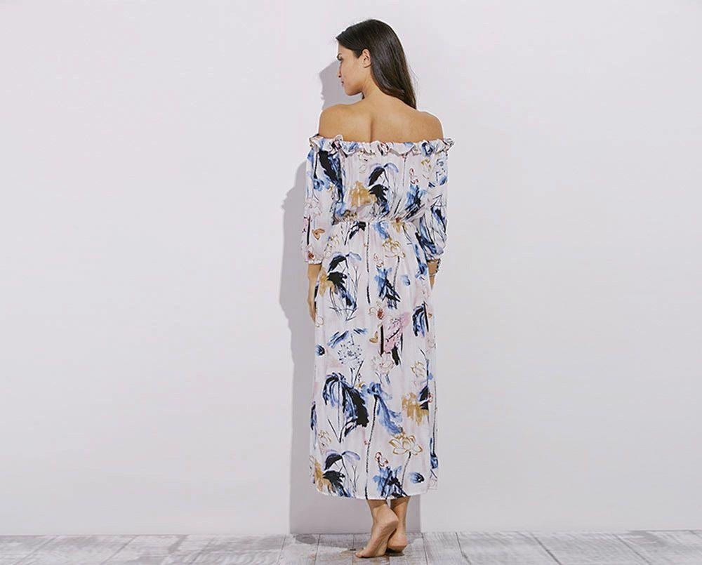 Fashionable Off The Shoulder Long Sleeve Slit Design Print Women Dress