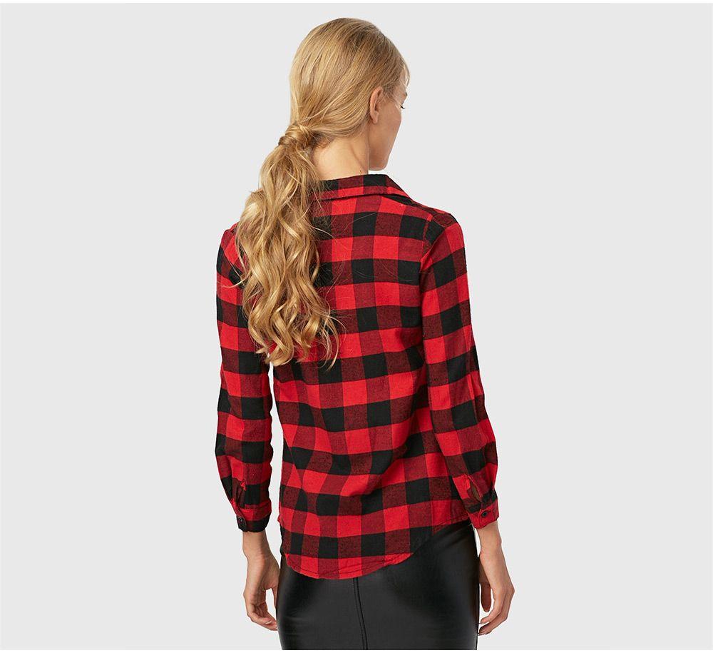 Fashion Turn-down Collar Long Sleeve Plaid Pattern Women T-shirt