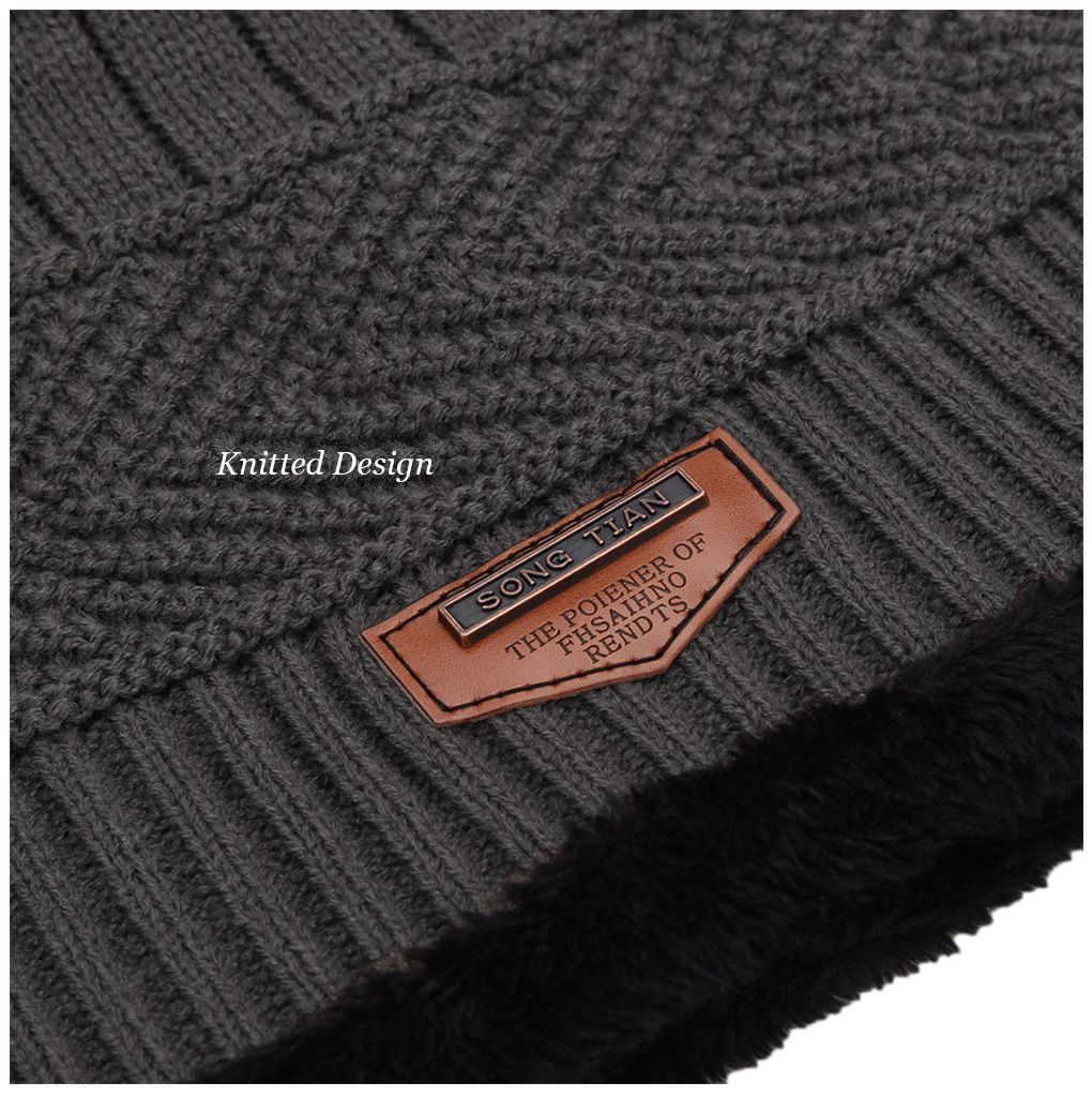 Winter Pure Color Warm Inside Knitted Hat for Men