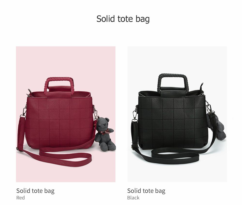 Brief Plaid Solid Color Women Tote Bag