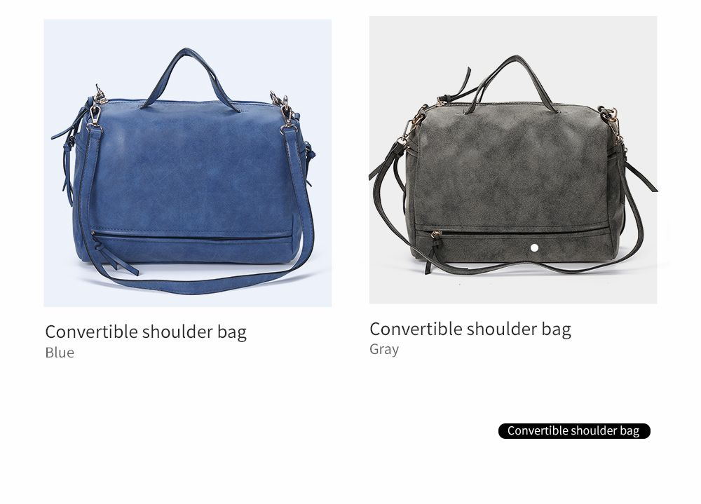 Brief Style Pure Color Women Convertible Shoulder Bag