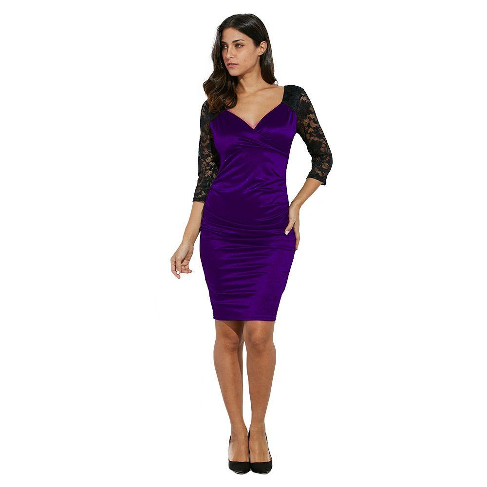 Elegant Sweetheart Neck Lace Spliced Color Block Bodycon Women Dress