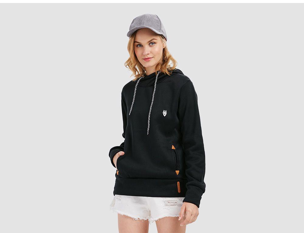 Casual Long Sleeve Hooded Pocket Design Hoodie for Women