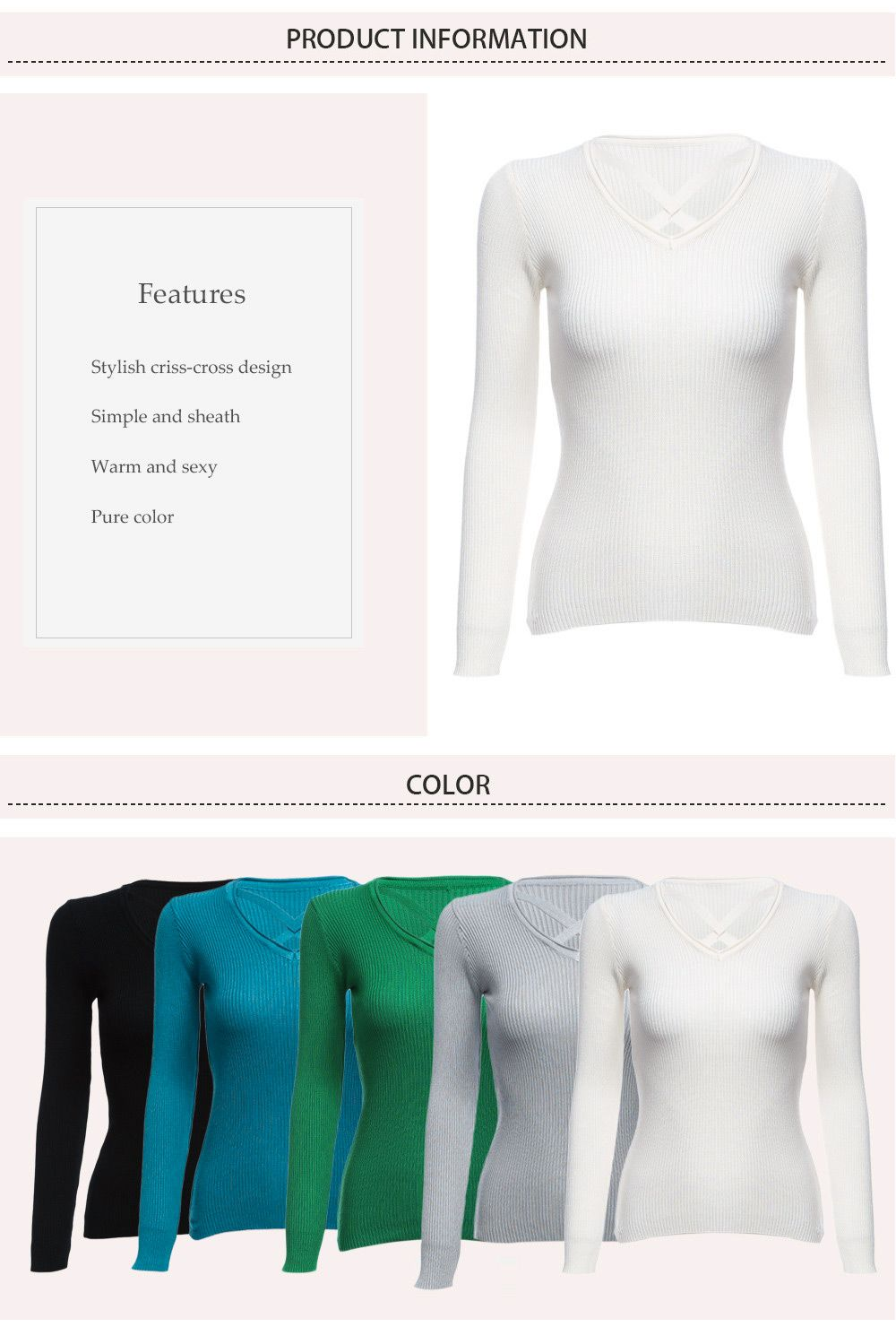 Fashion V-neck Bandage Design Long Sleeve Pure Color Sheath Women Sweater