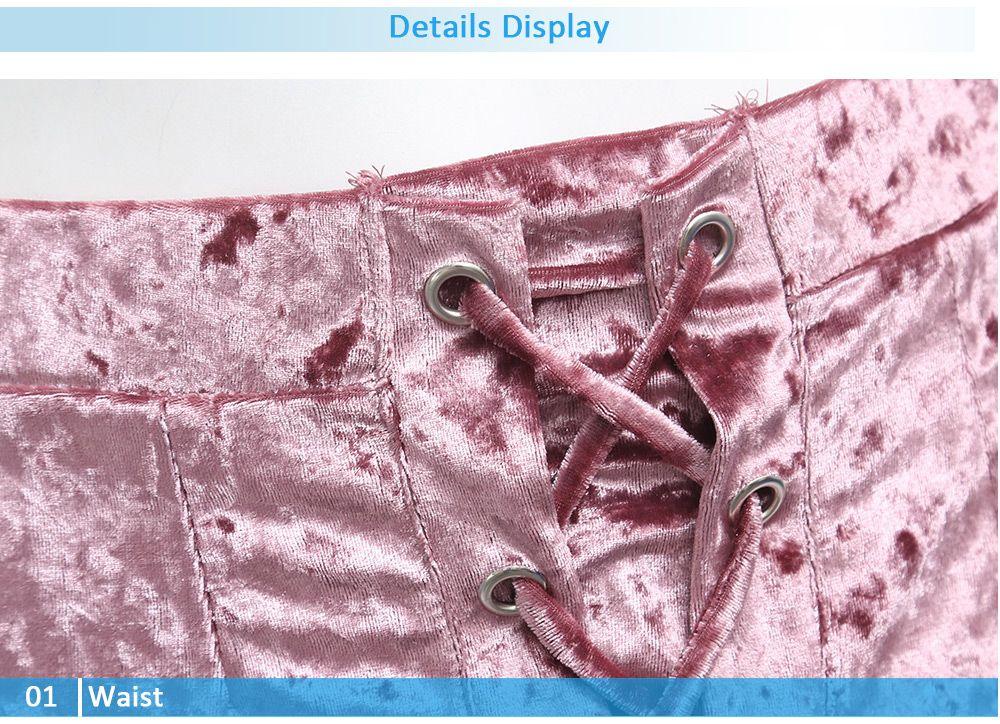 Crushed Velvet Lace Up Mini Skirt