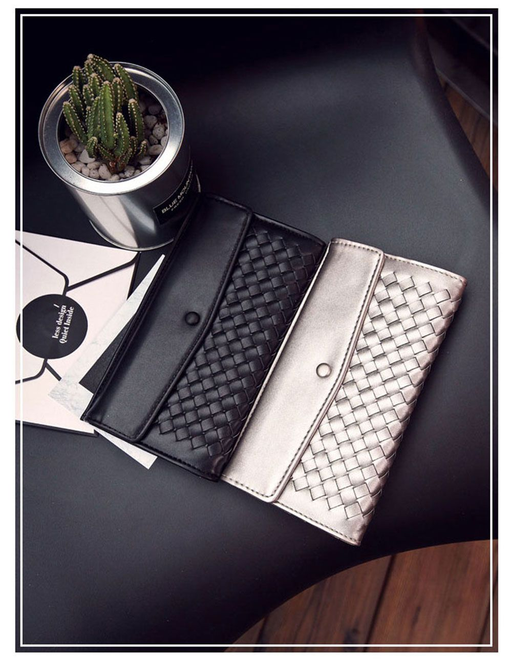 Casual Weaving Design Card Holder Handbag Hasp Wallet for Women