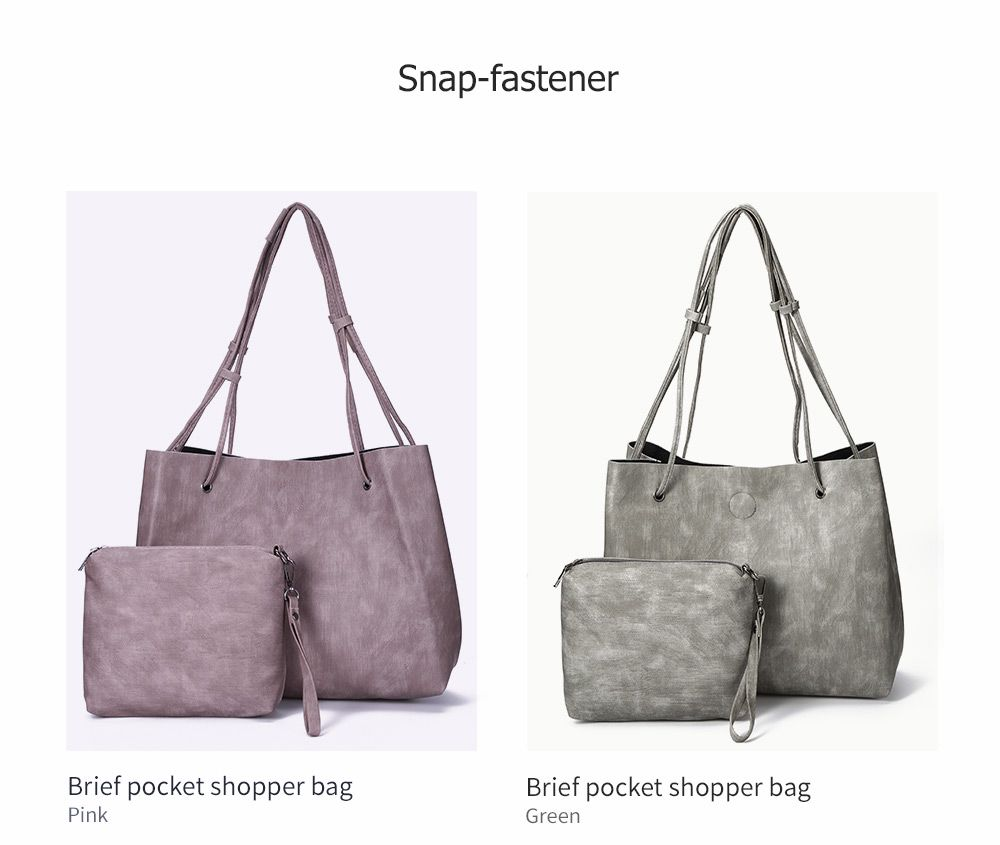 Simple Solid Color PU Women Pocket Shopper Bag Set