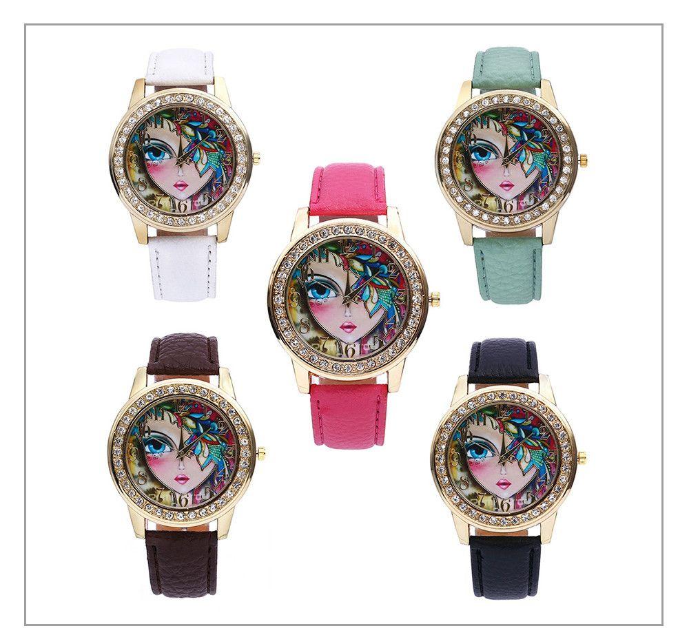 Women Quartz Watch Rhinestone Exquisite Pattern Leather Band Bangle Fashion Wristwatch