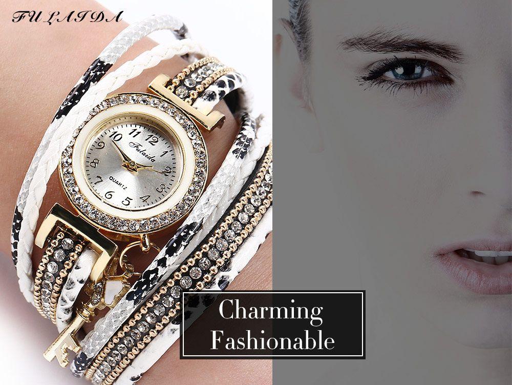 FULAIDA Women Quartz Watch Leather Band Tassel Decoration Rhinestone Wristwatch