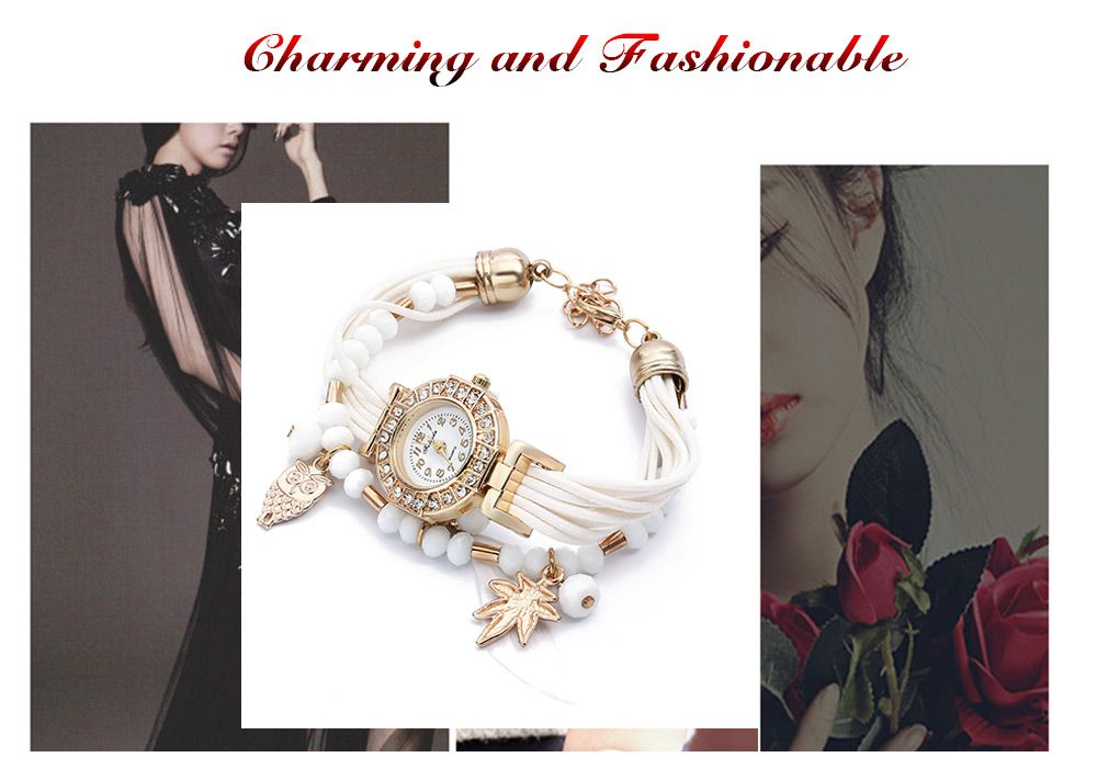 FULAIDA Women Quartz Watch Rhinestone Feather Decoration Bangle Wristwatch