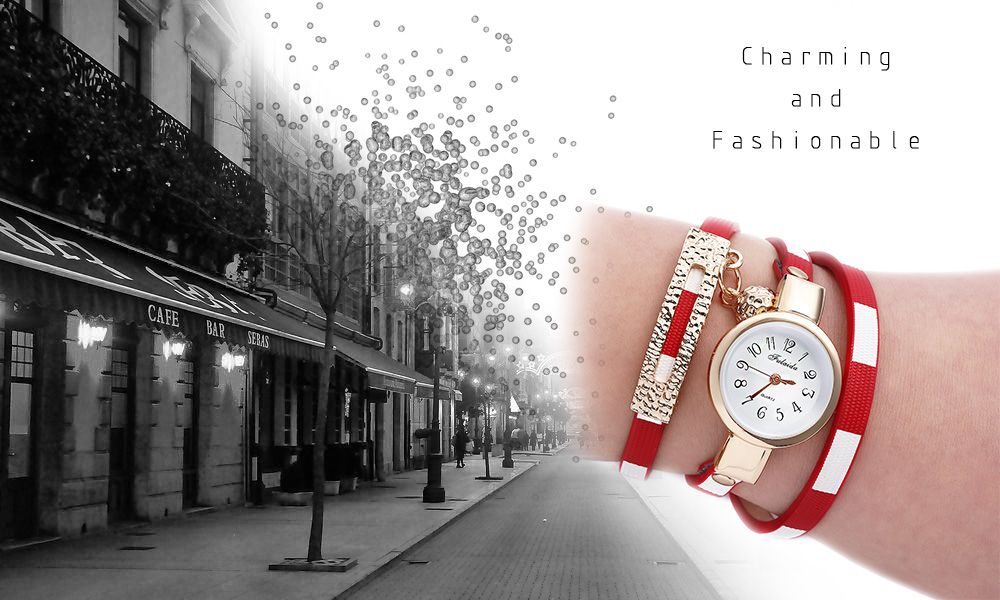 FULAIDA Women Quartz Watch Leather Band Bangle Fashion Wristwatch