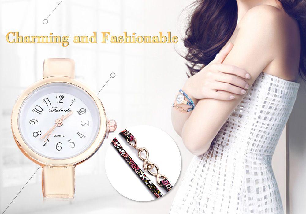 FULAIDA Chic Female Quartz Watch Rhinestone Leather Band Fashion Bangle Wristwatch