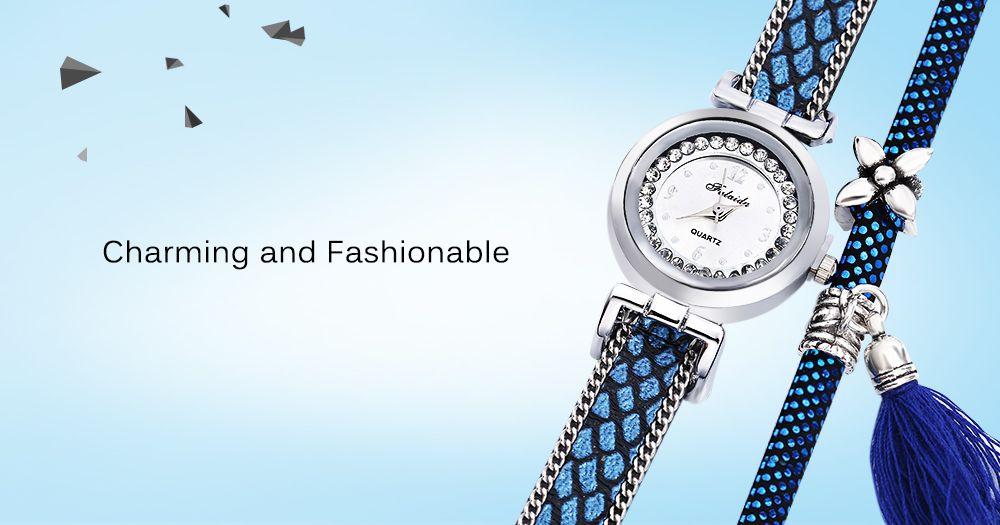 FULAIDA Women Quartz Watch Leather Band Rhinestone Tassel Decoration Wristwatch