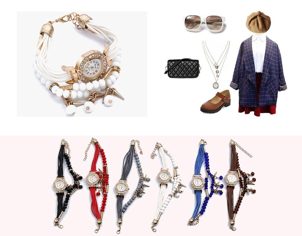 FULAIDA Female Quartz Watch Rhinestone Bangle Fashion Wristwatch