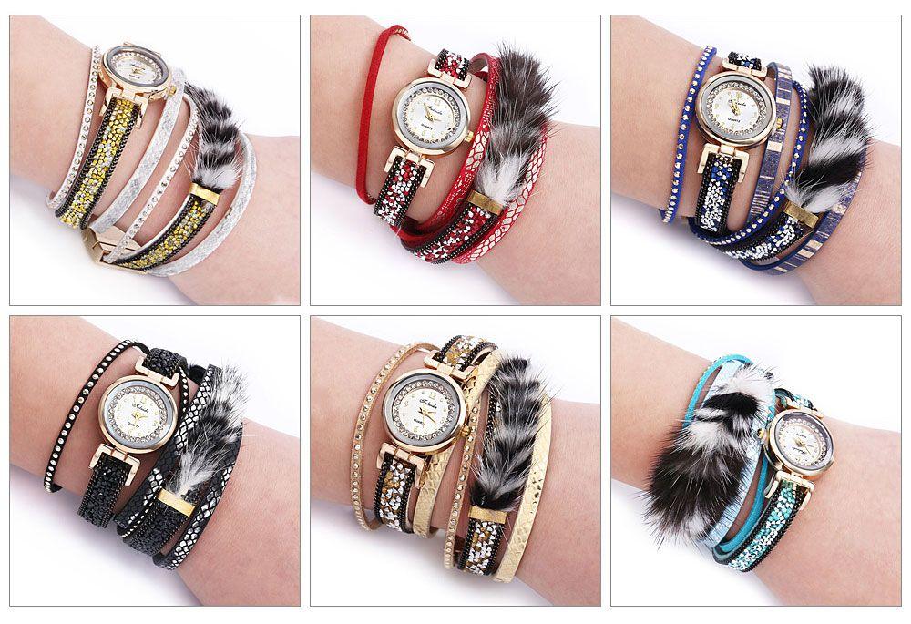 FULAIDA Women Quartz Watch Rhinestone Fur Decoration Leather Band Bangle Fashion Wristwatch
