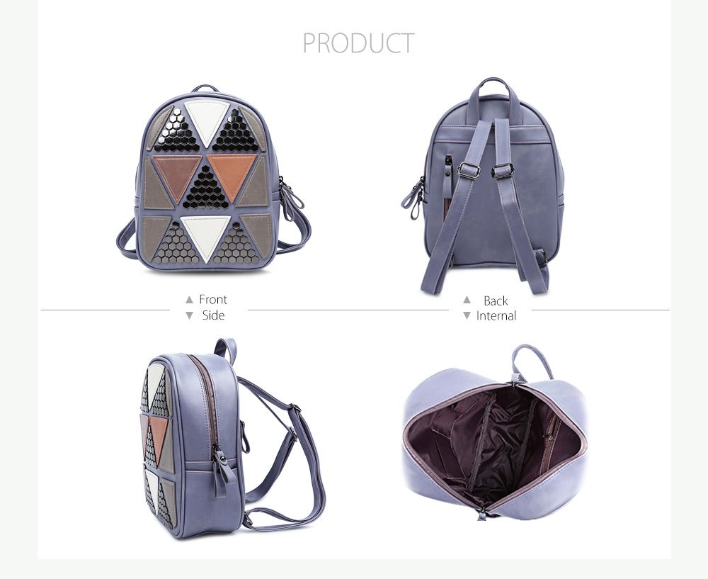 PU Leather Bag Triangular Applique Patch Style Backpack for Women