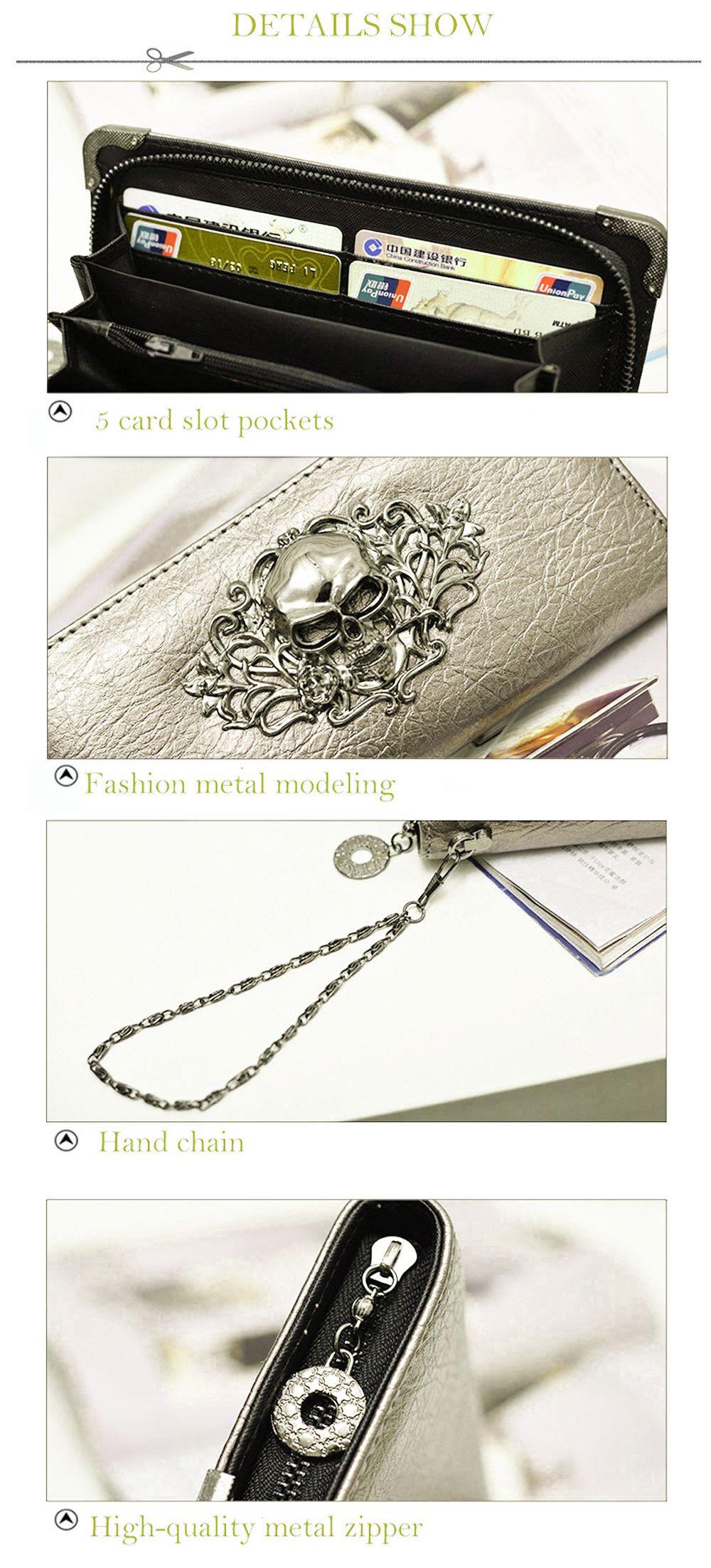 Guapabien Old Classical  Punk Handbag Zipper New Wallet Skull Woman Purse