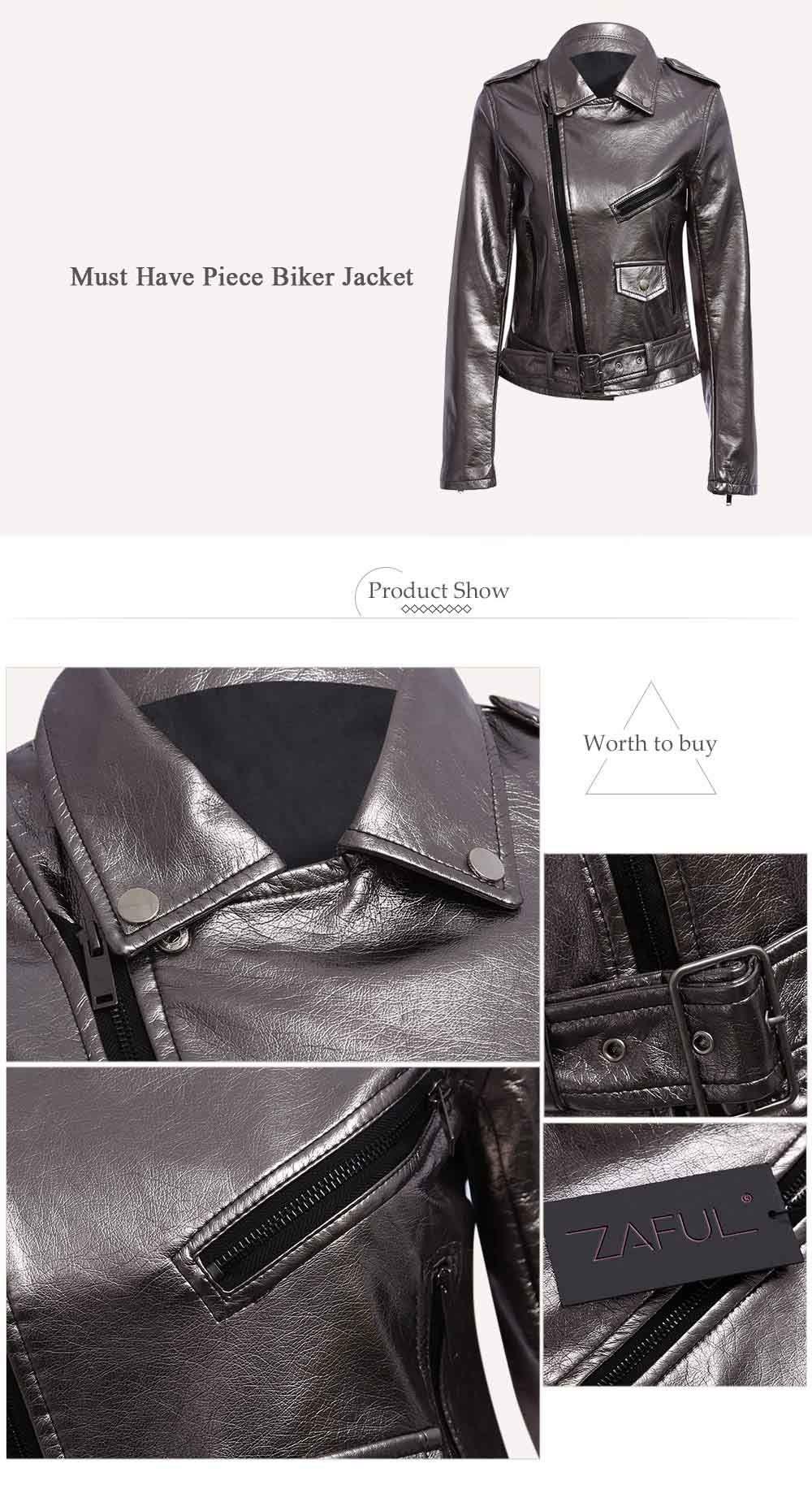 Trendy Turn Down Collar Zippered Women Biker Jacket